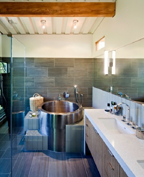 Japanese Soaking Tub with stiars Design Connection Inc Kansas City Interior Design Blog