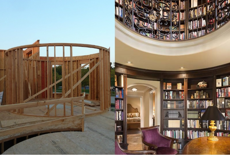 Before and After Circle two story Library Design Connection Inc Kansas City Interior Design