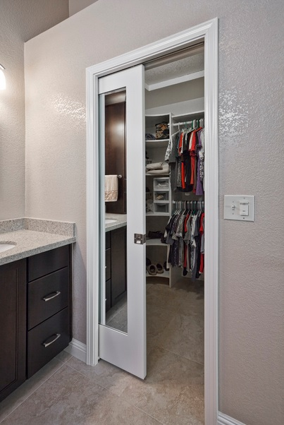 Bathroom Pocket Door with Mirror Design COnenction Inc Kansas City Interior Design