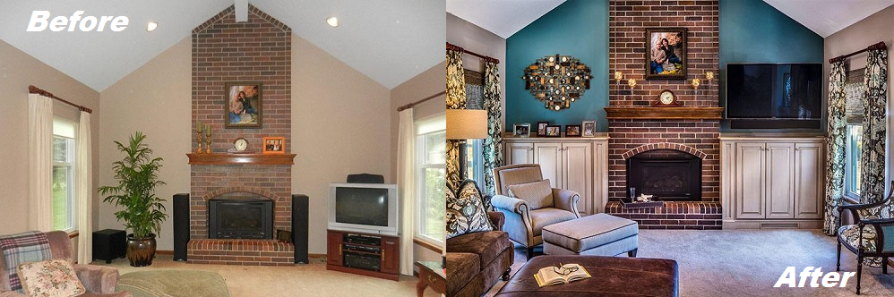 Living Room Before & After by Design Connection Inc Kansas City Interior Design