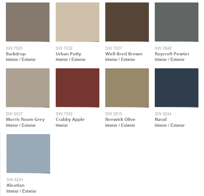 2016 Sherwin Williams Nouveau Narrative Color Palette