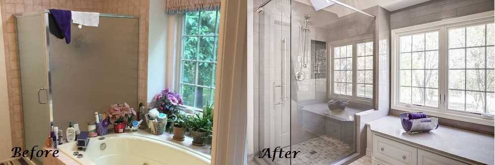 Before and After Bathroom I Design Connection Inc Kansas City Interior Design