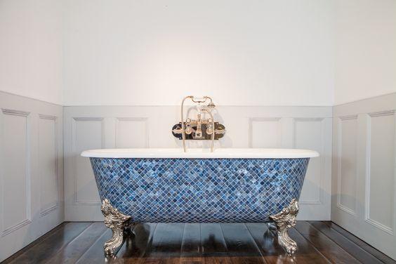 Blue Moasic Clawfoot Bathtub Design Connection Inc Kansas City Interior Design Blog